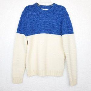 H&M Contrast Heavy Knit Crewneck Wool Sweater